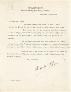 AUGUSTUS POST - TYPED LETTER SIGNED 11/14
