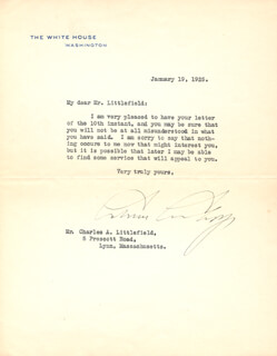 Autographs: PRESIDENT CALVIN COOLIDGE - TYPED LETTER SIGNED 01/19/1925