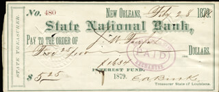 EDWARD A. BURKE - AUTOGRAPHED SIGNED CHECK 02/28/1881
