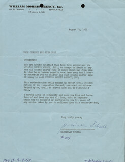 MAXIMILIAN SCHELL - CONTRACT SIGNED 08/21/1957