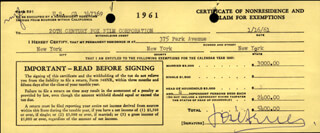 JOSE FERRER - DOCUMENT SIGNED 01/16/1961