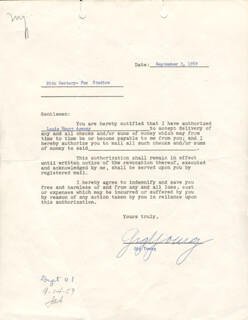 GIG YOUNG - DOCUMENT SIGNED 09/03/1959