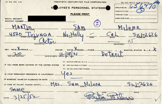 MARTIN MILNER - DOCUMENT SIGNED 03/25/1952