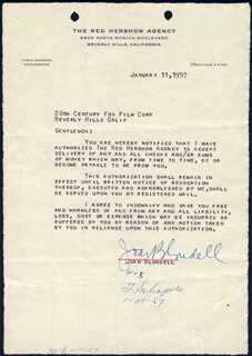 JOAN BLONDELL - DOCUMENT SIGNED 01/11/1957