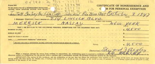 ED BEGLEY SR. - DOCUMENT DOUBLE SIGNED 10/03/1947