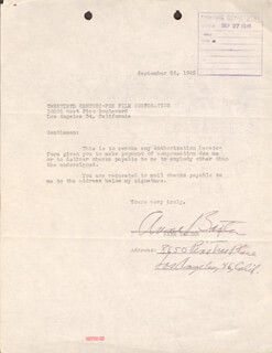 ANNE BAXTER - DOCUMENT SIGNED 09/26/1945
