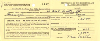 TOM EWELL - DOCUMENT SIGNED 01/22/1957