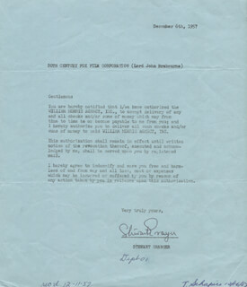STEWART GRANGER - DOCUMENT SIGNED 12/06/1957