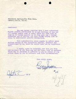DEAN JAGGER - ANNOTATED DOCUMENT SIGNED 09/25/1955
