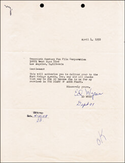 ED WYNN - TYPED LETTER SIGNED 04/04/1958