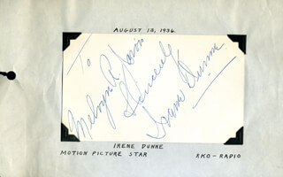 IRENE DUNNE - AUTOGRAPH NOTE SIGNED CIRCA 1936