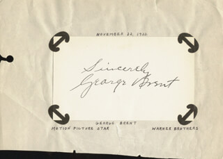 GEORGE BRENT - AUTOGRAPH SENTIMENT SIGNED CIRCA 1933