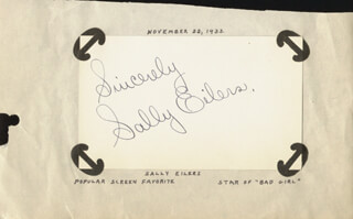 SALLY EILERS - AUTOGRAPH SENTIMENT SIGNED CIRCA 1933