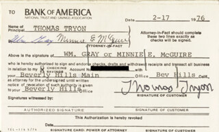 TOM TRYON - DOCUMENT DOUBLE SIGNED 02/17/1976