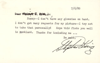 STEPHEN KING - TYPED LETTER SIGNED 07/06/1980