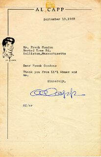 AL CAPP - TYPED LETTER SIGNED 09/10/1963