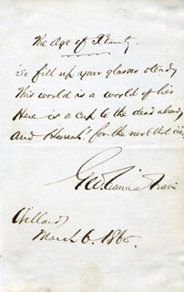 GEORGE FRANCIS TRAIN - AUTOGRAPH POEM SIGNED 03/06/1865