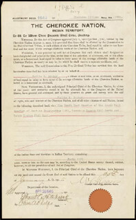 CHEROKEE INDIANS - LAND GRANT SIGNED 01/25/1905 CO-SIGNED BY: WILLIAM C. ROGERS, OLIVER A. PHELPS