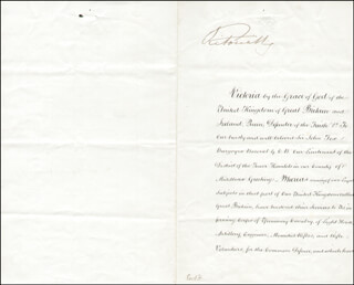 Autographs: QUEEN VICTORIA (GREAT BRITAIN) - CIVIL APPOINTMENT SIGNED 04/27/1865 CO-SIGNED BY: 1ST MARQUESS OF RIPON (GEORGE F. S. ROBINSON)