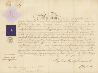Autographs: QUEEN VICTORIA (GREAT BRITAIN) - MILITARY APPOINTMENT SIGNED 07/15/1856 CO-SIGNED BY: SIDNEY HERBERT