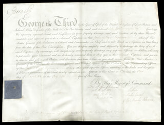 KING GEORGE III (GREAT BRITAIN) - MILITARY APPOINTMENT SIGNED 03/01/1805 CO-SIGNED BY: JOHN (EARL OF CHATHAM) PITT