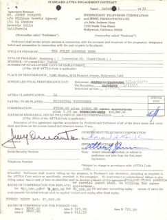 JIMMY SCHNOZZOLA DURANTE - CONTRACT SIGNED 10/06/1972