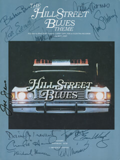 Autographs: HILL STREET BLUES TV CAST - SHEET MUSIC SIGNED CO-SIGNED BY: BETTY THOMAS, DANIEL J. TRAVANTI, CHARLES HAID, BARBARA BOSSON, MICHAEL WARREN, ED MARINARO, BRUCE WEITZ, JAMES B. SIKKING, TAUREAN BLACQUE, RENE ENRIQUEZ, JOE (JOSEPH) SPANO, VERONICA HAMEL