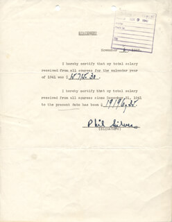 PHIL SILVERS - DOCUMENT SIGNED 11/06/1942