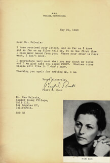 Autographs: PEARL S. BUCK - TYPED LETTER SIGNED 05/29/1948