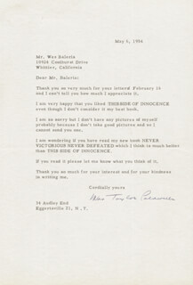 TAYLOR CALDWELL - TYPED LETTER SIGNED 05/06/1954