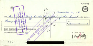 J. PAUL GETTY - AUTOGRAPHED SIGNED CHECK 11/10/1967