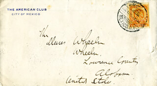 MAJOR GENERAL JOSEPH FIGHTIN' JOE WHEELER - AUTOGRAPH ENVELOPE UNSIGNED