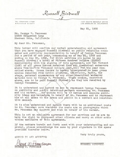 GEORGE W. FENNEMAN - CONTRACT SIGNED 05/21/1952