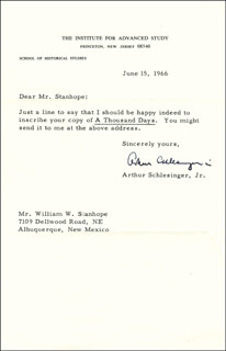 ARTHUR M. SCHLESINGER JR. - TYPED LETTER SIGNED 06/15/1966