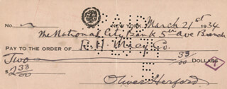 OLIVER HERFORD - AUTOGRAPHED SIGNED CHECK 03/21/1934