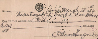 OLIVER HERFORD - AUTOGRAPHED SIGNED CHECK 03/20/1934
