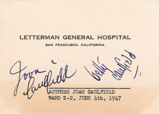 JOAN CAULFIELD - AUTOGRAPH CIRCA 1947 CO-SIGNED BY: BETTY CAULFIELD