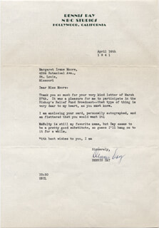 DENNIS DAY - TYPED LETTER SIGNED 04/14/1941