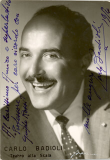 CARLO BADIOLI - AUTOGRAPHED INSCRIBED PHOTOGRAPH 1954
