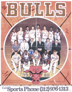 Autographs: THE CHICAGO BULLS - POSTER SIGNED CIRCA 1979 CO-SIGNED BY: ARTIS GILMORE, JERRY SLOAN, DAVID GREENWOOD, SCOTT MAY, COBY DIETRICK, JOHN MENGELT, RICKY SOBERS, REGGIE THEUS