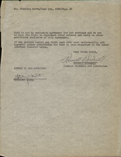 STERLING NORTH - DOCUMENT SIGNED 06/01/1945 CO-SIGNED BY: RUSSELL J. BIRDWELL