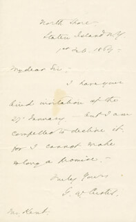 GEORGE WILLIAM CURTIS - AUTOGRAPH LETTER SIGNED 02/01/1864