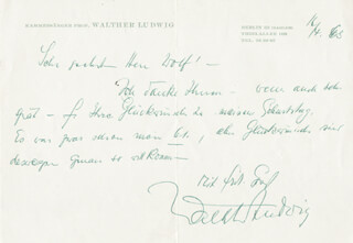 WALTHER LUDWIG - AUTOGRAPH LETTER SIGNED 04/16/1963