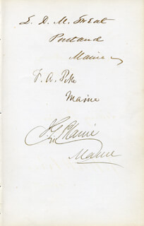 Autographs: JAMES G. BLAINE - SIGNATURE(S) CO-SIGNED BY: FREDERICK A. PIKE, LORENZO DE MEDICI SWEAT