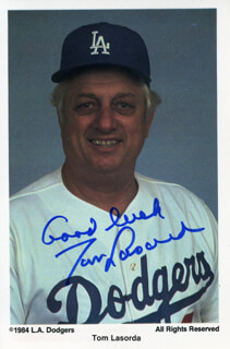 TOM LASORDA - PRINTED PHOTOGRAPH SIGNED IN INK