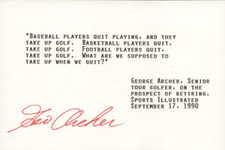 Autographs: GEORGE ARCHER - TYPED QUOTATION SIGNED