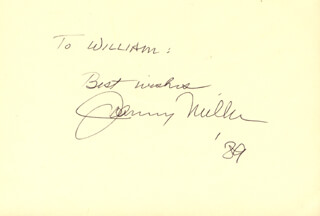 JOHNNY MILLER - AUTOGRAPH NOTE SIGNED 1989