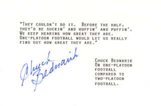 CHUCK BEDNARIK - TYPED QUOTATION SIGNED