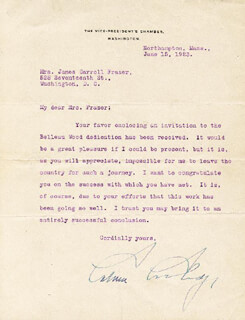 PRESIDENT CALVIN COOLIDGE - TYPED LETTER SIGNED 06/15/1923