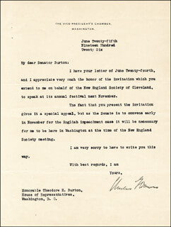 Autographs: VICE PRESIDENT CHARLES G. DAWES - TYPED LETTER SIGNED 06/25/1926